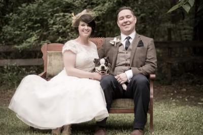 Newlyweds Jen and Stew with their pup, Abby!